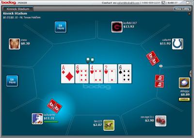Игровой стол в руме Bodog Poker.