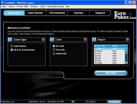 Возможность быстрой посадки за стол EuroPoker - Quick Seat.